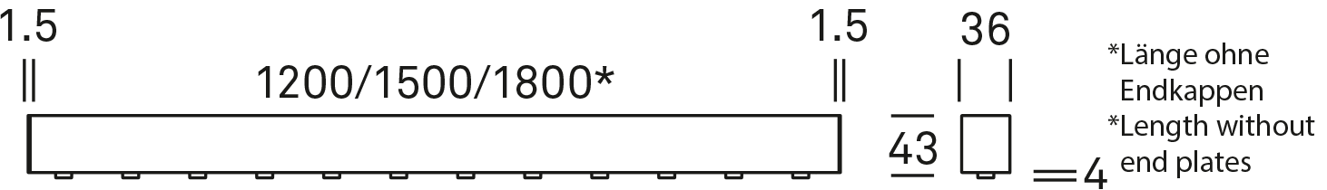 * Length without end plates